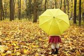 Beautiful little girl with umbrella outdoors — Stock Photo