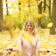 Young girl in the autumn forest - Stock Photo
