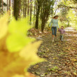Beautiful little girl with her mother in the autumn park — Stock Photo #18005745
