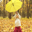 Beautiful little girl in the autumn forest with umbrella — Stock Photo #18005817