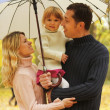Family with beautiful little girl with umbrella in the autumn forest — Stock Photo #18005939