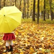 Beautiful little girl in the autumn forest with umbrella — Stock Photo #18006135