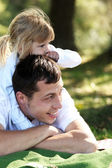 Father and daughter on nature — Stock Photo