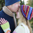 A young couple in love in the park in winter  — Stock Photo