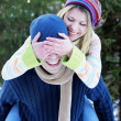Young couple at the park in winter — Stock Photo