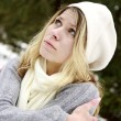 Girl in the park in winter - Stock Photo