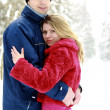 Couple in the park in winter — Stock Photo