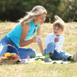 Mom and daughter on picnic — Stock Photo