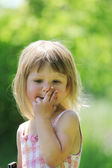 L little girl on nature — Stock Photo