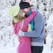 Couple in love in the park in winter — Stock Photo
