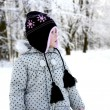Girl in the park in winter — Stock Photo