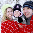 Family in the park in winter — Stock Photo
