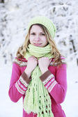 Woman in a park in winter — Stock Photo