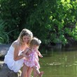 Stock Photo: Mother and her little daughter squirting water at the lake