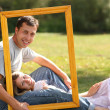 Couple in love in the frame - Stock Photo