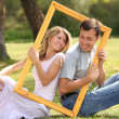 Couple in love in the frame — Stock Photo