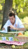 Genç baba ile bebek kızı piknik i̇ncil okuma — Stok fotoğraf