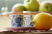 Tea and fruit at picnic — Stock fotografie
