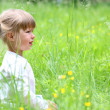 Beautiful little girl on nature — Stock Photo