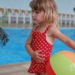 Little girl in the water pool — Stock Photo