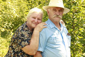 Elderly couple in love outdoors — Stock Photo
