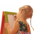 Girl draws on a white background — Stock Photo
