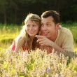 Young beautiful couple in love outdoors — Stock Photo