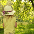 Stock Photo: Beautiful little girl in hat on nature