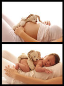 Stomach of pregnant woman — Stock Photo