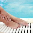 Female legs in the water pool — Stock Photo #39694617