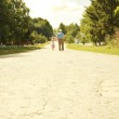 Grandfather with granddaughter walk along the road — Stock Photo #41453717