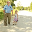 Grandfather with granddaughter walk along the road — Stock Photo #41453901