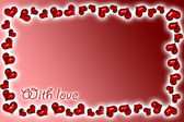 Red background with red hearts — Stock Photo