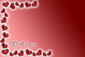 Red background with red hearts — Foto de Stock