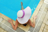 Girl in a hat in the water pool  — Stok fotoğraf