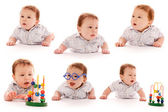 Collection of a young boy on a white background with a toy — Foto Stock