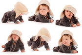 Collection cute little newborn baby in a hat — Stock Photo