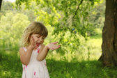 Little cute girl with soap bubbles  — Stock Photo