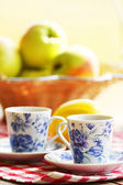 Mug tea and fruit at the picnic — Stock Photo