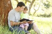 Отец с маленькой дочкой читает Библию — Стоковое фото
