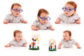 Collection newborn one small child — Stock Photo
