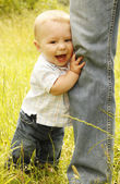 Little boy with his father on the nature  — Stock Photo
