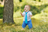 Little boy playing on nature — Stock Photo
