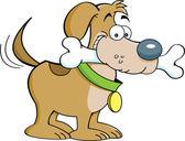 Hond en een bone — Stockvector