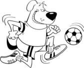 Perro jugando fútbol — Vector de stock
