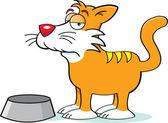 Gato com um prato de comida — Vetorial Stock