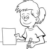 Chica sentada en un escritorio — Vector de stock