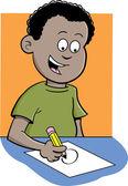 мальчик, пишущий — Cтоковый вектор