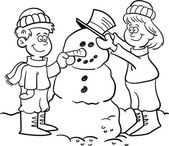 Kids building a snowman — Stock Vector