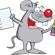 Mouse holding a paper and pencil — Vector de stock